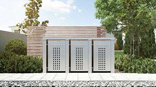 Mülltonnenbox Flachdach 4x12 Design Edelstahl 120 Liter 3 Mülltonnen