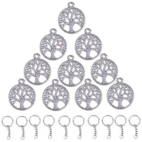 Gudotra 100 pz pendentifs ciondoli di albero argento vintage con 20 pz anelli per portachiavi per gioielli fai da te collane bracciali bomboniere albero