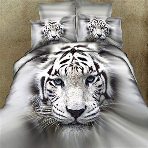 Zantec 3pz/4pz lenzuola matrimoniali completo set biancheria per letto matrimonio stampa tigre 3d moderna - 1pz copripiumino + 2pz federa + 1pz lenzuolo, queen size (3pz/set)