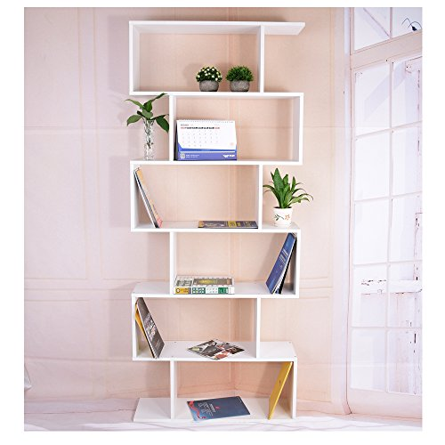 Anqi Wooden S Shape Storage Display 6 Shelves Room Divider Unit Chest Bookshelf Bookcase Cupboard Cabinet Home Office Furniture - White