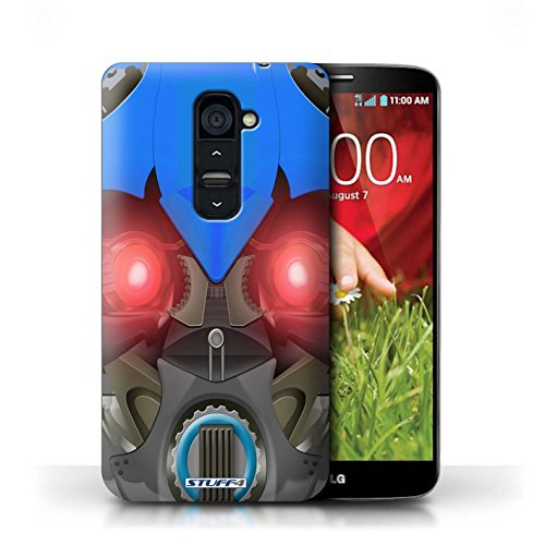 Kobalt® Imprimé Etui / Coque pour LG G2 / Opta-Bot Rose conception / Série Robots Bumble-Bot Bleu
