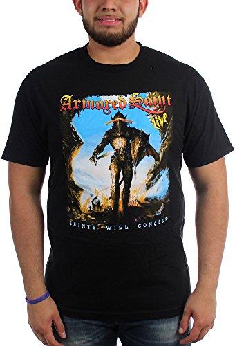 Armored Saint-Saints è Conquer-Maglietta da uomo Nero  nero