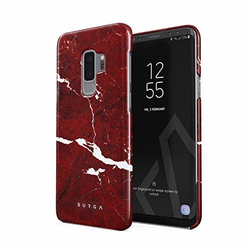 BURGA Hülle Kompatibel mit Samsung Galaxy S9 Plus Handy Huelle Iconic Rubin Rot Marmor Muster Ruby Red Marble Mädchen Dünn, Robuste Rückschale aus Kunststoff Handyhülle Schutz Case Cover Ruby Red Handy