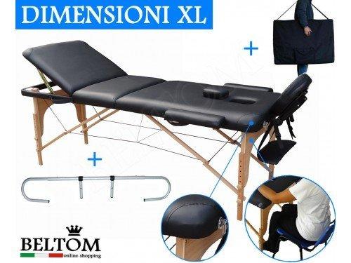 Lettino Massaggio 3 Zone In Legno Dimensione Xl 195 X 70 Cm