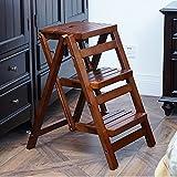 Schritt Hocker für Kinder Erwachsene 3 Schritt, Küche Schlafzimmer Bad Mehrzweck-Klappleiter Regal (Farbe : Brwon)