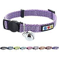 Pawtitas Collar de Gato Reflectante con Hebilla de Seguridad y Cascabel removible Lila