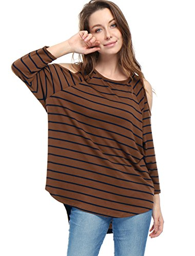 M (US 10) , Brown : Allegra K Women's Stripes Cut Out Shoulder High Low Hem Tunic Top