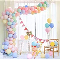 Maxi 100pcs Pastel Latex Balloons 12 Inches Assorted Macaron Candy Colored Latex Party Balloons for Wedding Graduation Kids Birthday Party Christmas Baby Shower Party Supplies Arch Balloon Tower