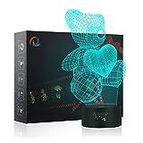 Amor Del Oso 3d Lámpara LED óptico Engaños Luz Nocturna, Yunplus 7 Cambio de Color Con Acrílico Flat & ABS Base & USB Cargador de Cambiar Toca Lámpara de Escritorio Lámpara de Mesa
