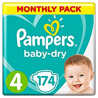 Pampers Baby-Dry, 174 Nappies, 9-14 kg, Monthly Saving Pack, Air Channels for Breathable Dryness Overnight, Size 4 (B00AR9HWZ0) | Amazon price tracker / tracking, Amazon price history charts, Amazon price watches, Amazon price drop alerts