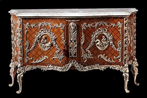 Marmo Cassettiera barocco Buffet stile antico bianco louis XV moba0127