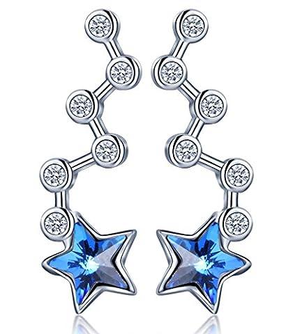 Infinite U 925 Sterling Silver Ocean Blue Austrian Crystal Star Ear Cuff Studs Earrings for