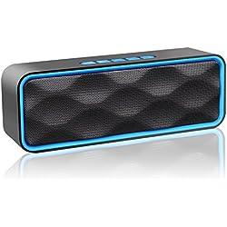 zoeetree S1inalámbrica Bluetooth altavoces, al aire libre Altavoz estéreo con HD Audio y manos libres, Bluetooth, integrado de doble controlador de graves mejorado 4.2, llamadas manos libres, radio FM y TF ranura de la tarjeta (azul)