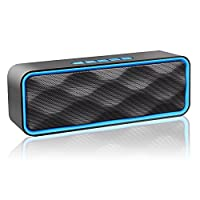 ZOEE S2 Bluetooth Stereo Speaker with HD Audio, Enhanced Bass, FM Radio & Built-in Mic, TF Card Slot, Dual-Driver Portable Wireless Speaker with Low Harmonic Distortion and Superior Sound (Blue)