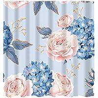 tianranrt resistente al agua ducha cortina Imprimir costura 12 Ganchos Baño Ducha Cortina Impresión de baño