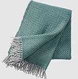 KLIPPAN Grau-petrolgrün gemusterte Wolldecke 'Fogg', 75% Lambswool -25% Gotlandwolle, 130x200cm