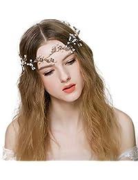 Matrimonio fiore perla nuziale Cristalli fatti a mano da sposa Cerchietti per  capelli per la damigella d onore Vite e… 45f7b378a39b