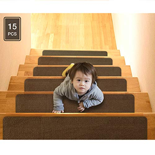 15er-Pack 20x76cm Rutschfeste Teppich-Treppenstufen-Teppichmatten, rutschhemmend, Treppenläufer, rutschhemmend für Kinder, Ältere und Hunde, vormontierter Klebstoff, modernes Design, braun
