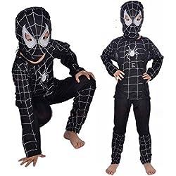 Talla L - 7-8 años - Disfraz - Traje - Carnaval - Halloween - Superhéroe - Hombre araña - Negro - Niño
