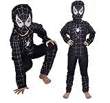 Talla L - 7-8 años - Disfraz - Disfraz - Carnaval - Halloween - Spiderman - Super héroe - Hombre araña - Negro - Niño