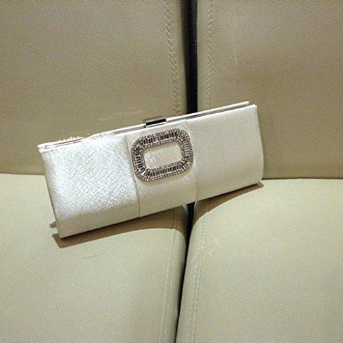 sacchetto originale di diamante abito da sera in raso fibbia quadrata ( Colore : Viola ) Bianca