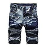MOOPYS& Hot Style Summer High Street Denim Shorts Men Jeans Punk Short Homme Cowboy Shorts Mens Stretch Big Size Casual Short Hombre 1763 Dark Blue 32