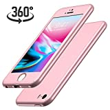 Luckydeer Coque iPhone Se / 5s / 5 et en Verre Trempé, Or Rose (4,0 Pouces)