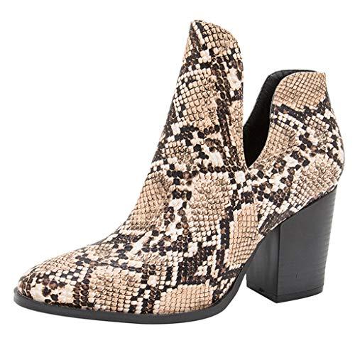 Damen Boots Stiefel mit spitzem Blockabsatz Stiefel Damen Flach PU Leder Hoch Langschaft Frauen Winterstiefel Reißverschluss Schnalle Elegant Boots Retro Schuhe