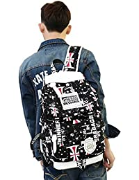 HAPPYTIMEBELT Double Zipper Union Flag Printing School Backpack Student Book Bag(Black)
