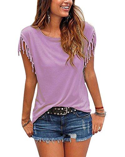 Femmes T-Shirt Eté Casual Tassel Manches Courtes Tunique Chemise Blouse Violet