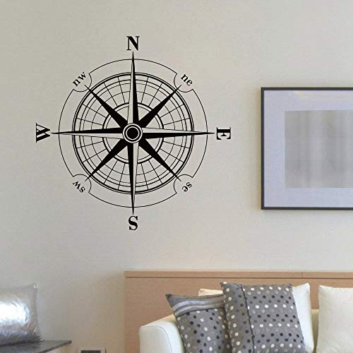 WWYJN Vinyl Sticker Wind Rose Compass Wall Decal Removable Travel Geography Wall Poster Home Living Room Decoration Wall Mural Gray 42x42cm