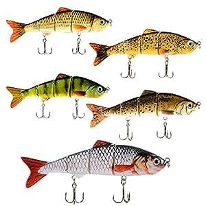 LinTimes Swimbaits Bionic Multi Jointed 4-Segement Pike Bass Fishing Lure Bait Tackle