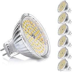 MR16 GU5.3 LED Ampoule Blanc Chaud Douille 12V 5W Equivalent à 35W Halogène Lampe GU 5.3 GU5 Spot 3000K 400 Lumen 120°Faisceaux Non-dimmable Ø50 x 48 mm,Lot de 6