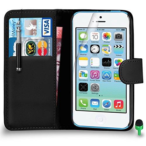 Apple iPhone 5C hülle Prämie Leder SCHWARZ Brieftasche Flip Fall Abdeckung mit Einziehbar touch-Stylus GRÜN Kappe Bildschirmschutz & Poliertuch