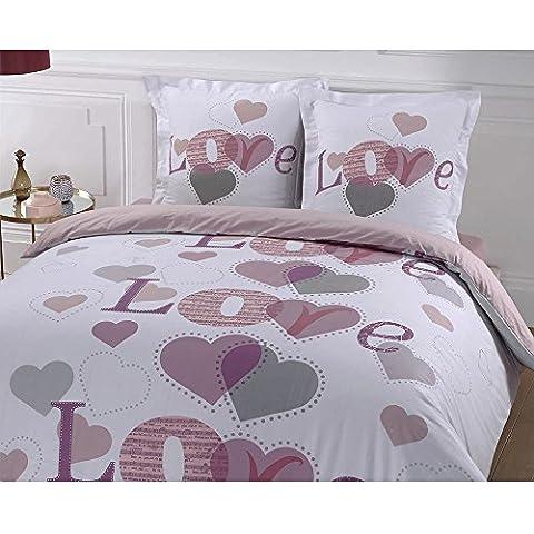 VISION-Juego de cama de nórdico aterciopelado 100% algodón, funda nórdica de 240 x 260 cm, 2 fundas de almohada de 65 x 65 cm, color blanco, rosa y morado