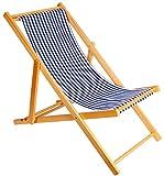 2er Set Holz Strandstuhl Strandliege Liegestuhl Klappbar Gartenliege Sonnenliege Campingstuhl (Blau)