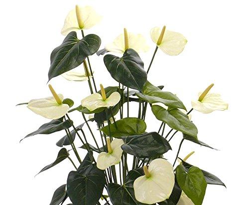 Kunstblume Anthurium mit 13 weißen Blüten, 80cm – Kunstpflanze künstliche Blumen Kunstblumen Blumensträuße künstlich, Seidenblumen oder Blumen aus Plastik Kunststoff