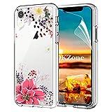 OKZone Coque iPhone XR [avec Film de Protection écran HD], Floral Flower Blossom...