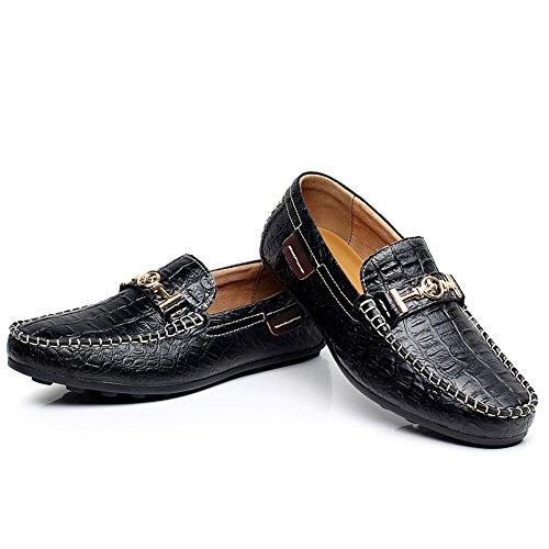 Shenn Herren Krokodil Leder Geschäftlich Schuhe Drauftun Fahren Halbschuhe 1314 Schwarz