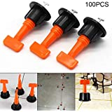 Symboat 100Pcs Flat Ceramic Floor Wall Construction Tools Reusable Tile Leveling System Kit Woodworking Tools