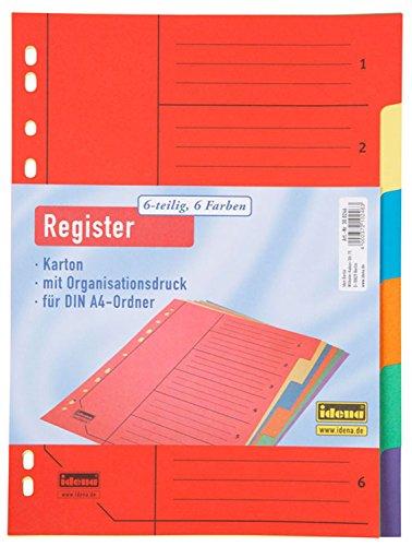Idena 300246 - Register DIN A4, 6-teilig aus Karton