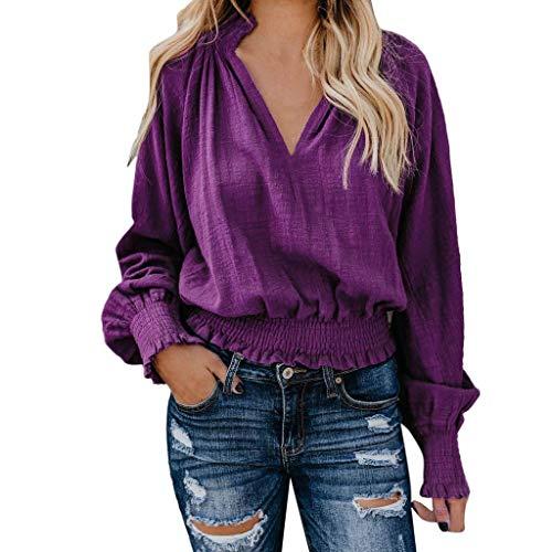 33f150090a56 CUTUDE Damen Bluse Lose Einfarbig Langarmshirt Frauen Oberteil V-Ausschnitt  Beiläufig T Shirt Langarm Täglich Tops (Lila, L)