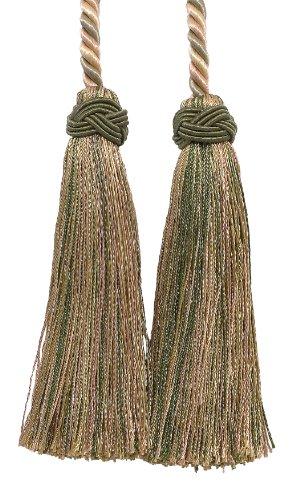 Doppelte Quaste/Olive Grün, Champagner/Quaste Krawatte mit 10,2cm Quasten, 66cm Spread (Kabellänge), Imperial II Collection Style # IKT Farbe: Sagegrass–4567