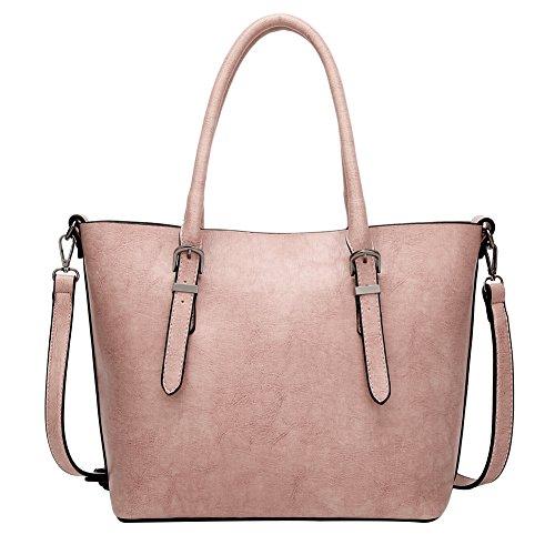 PB-SOAR Damen Vintage Elegant Henkeltasche Schultertasche Ledertasche Shopper Umhängetasche Handtasche (Rosa) (Rosa Soft-handtasche)