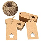 100PCS 9.5CM X 4.5CM Kraft Paper Gift Tags, Hollow Five-pointed Star Shape Hang Tags with 30 Meters Natural Jute Twine Perfect for Mother's Day, Christmas Day and Wedding Birthday Party