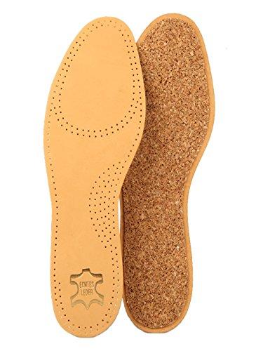 Die Schuhanzieher Ledereinlegesohlen mit echtem Naturkork - Einlegesohlen aus pflanzlich gegerbtem Leder z2229(46)