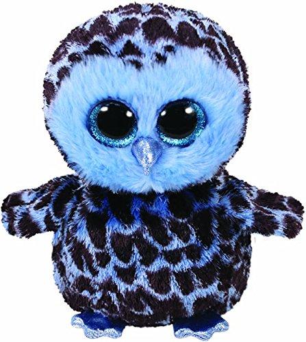 TY 37267 Yago, Eule blau/schwarz 24cm Glitzeraugen, Beanie Boo's (Große Eule-beanie-boo)
