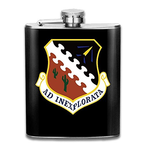 Miedhki Air Force Flight Test Center Stainless Steel Pocket Flagon Shot Flask Hip Flask Wine Pot (7oz)