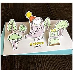 Grußkarte 1 Stück Tier Gruß Karte 3D Karte DIY handgemachte Karte für die meisten Anlässe (Eule) Jahrestagskarte