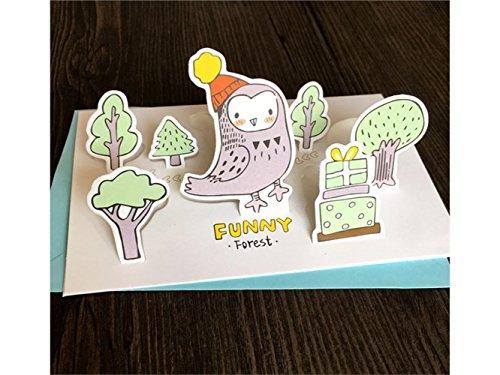 Handgefertigte Geburtstagskarten 1 Stück Tier Gruß Karte 3D Karte DIY handgemachte Karte für die meisten Anlässe (Eule)